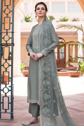 Grey Heavy Muslin Palazzo Salwar Suit
