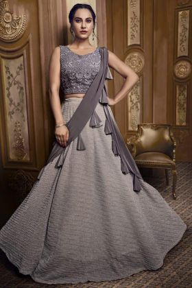 Grey Lehenga In Fancy Fabric For Sangeet Ceremony