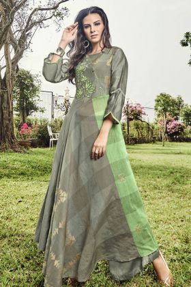 Grey Modal Jacquard Fancy Kurti
