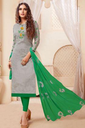 Grey Modal Silk Dress Material