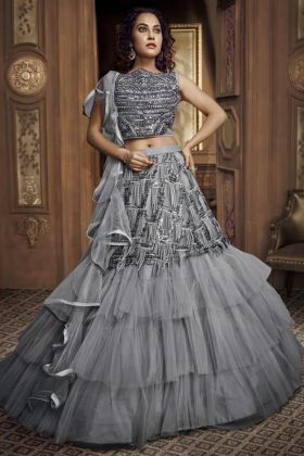 Grey Net Fabric Wedding Reception Dress In Fancy Work