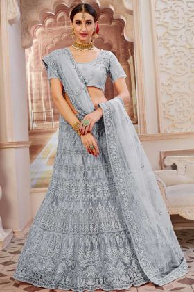 Grey Net Festival Lehenga Choli In Resham Embroidered Work
