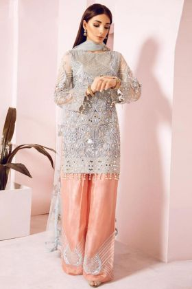 Grey Net Pakistani Salwar Suit With Peach Pant Style palazzo