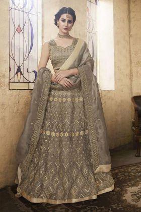 Grey Net Wedding Wear A-Line Lehenga Choli