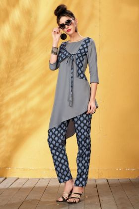 Grey Rayon Digital Printed Kurti
