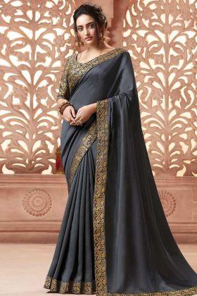 Grey Satin Silk Designer Saree Grey Color With Art Silk Blouse
