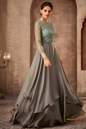 Grey Silk Georgette Anarkali Gown With Front And Back Embroidered
