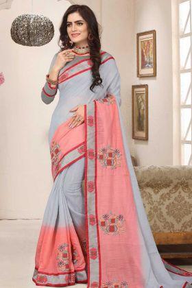 Grey Soft Silk Festival Saree