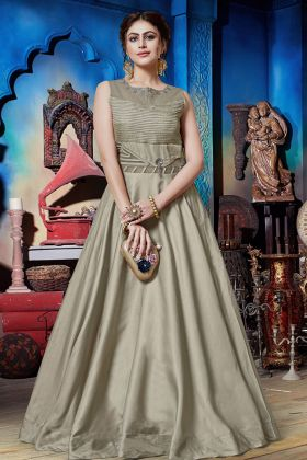 Grey Soft Silk Party Wear Gown Online
