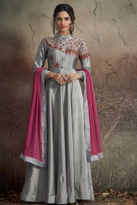 Grey Tafeta Art Silk Fancy Gown Online