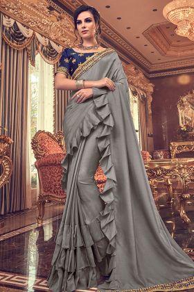 Grey Vichitra Silk Party Wear Ruffle Saree