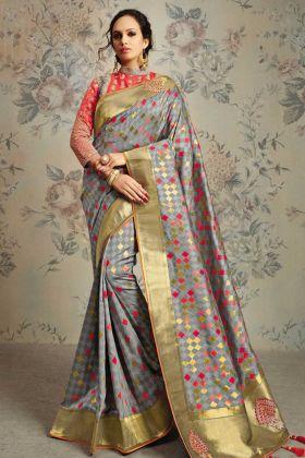 Grey Weaved Jacquard Silk Embroidery Saree