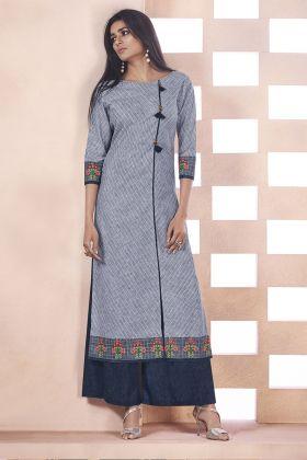 Grey Weaving Cotton Kurti Online