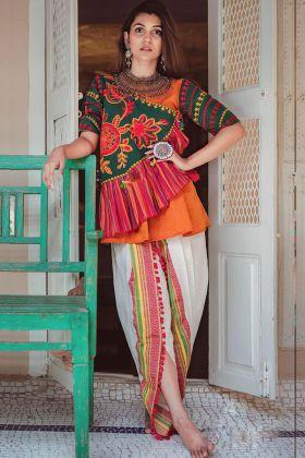 Gujarati Kedia Dress Online for Navratri Dandiya In Orange Color