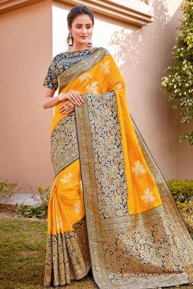 Haldi Special Yellow Color Weaved Silk Wedding Sarees For Bride
