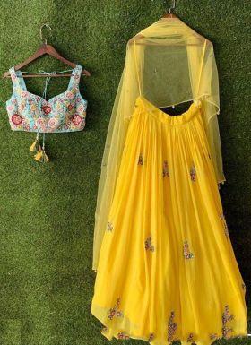 Haldi Wear Yellow Embroidered Lehenga Choli