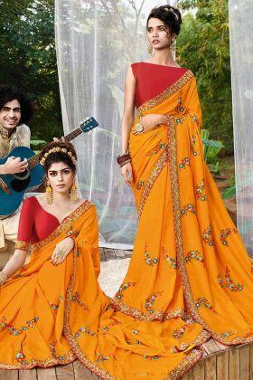 Haldi Special Mustard Yellow Wedding Saree