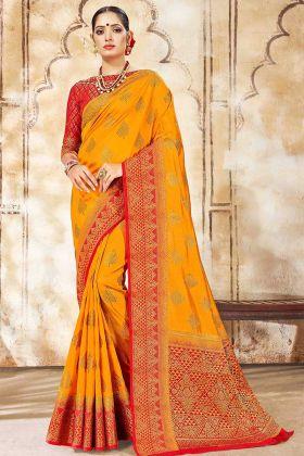 Haldi Special Yellow Wedding Saree In Nylon Silk Fabric