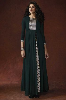Hand Embroidery Applique Work Dark Green Color Georgette and Silk Crepe Stylish Gown