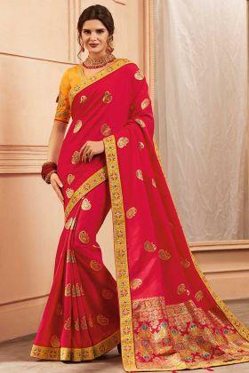 Hand Fancy Embroidery Work Red Color Heavy Banarasi Silk Festival Saree