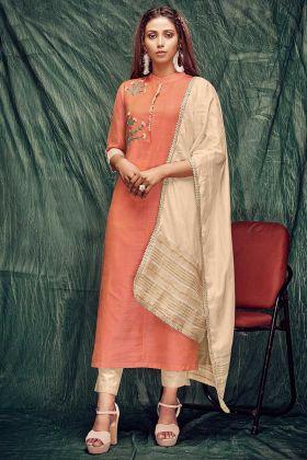 Hand Work Banarasi Silk Party Wear Kurti Orange Color