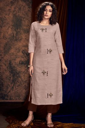 Hand Work Beige Color Khadi Silk Fancy Palazzo Kurti Set
