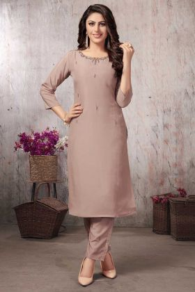 Hand Work Beige Pink Color Muslin Designer Kurti With Pant