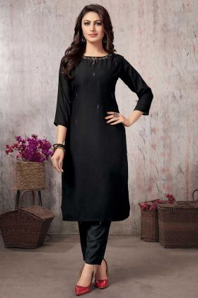 Hand Work Black Color Muslin Stylish Kurti With Pant