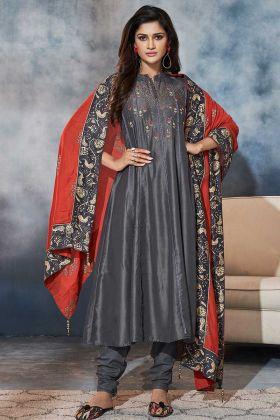Hand Work Dark Grey Color Muslin Churidar Salwar Suit