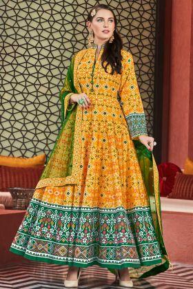 Hand Work Golden Yellow Color Heavy Pure Killer Silk Anarkali Dress