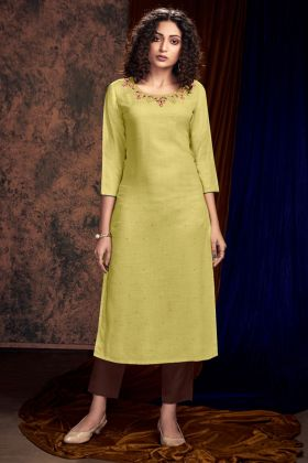 Hand Work Light Yellow Color Satin Slub Pant Style Kurti With Hand Work
