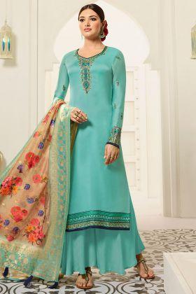 Hand Work Satin Georgette Casual Party Wear Salwar Suit Sky Blue Color