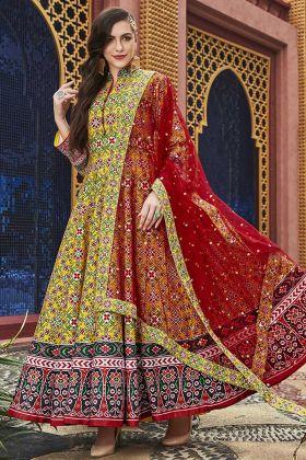 Hand Work Yellow Color Heavy Pure Killer Silk Anarkali Salwar Kameez