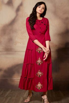 Handloom Rayon Dark Pink Fancy Anarkali Kurti