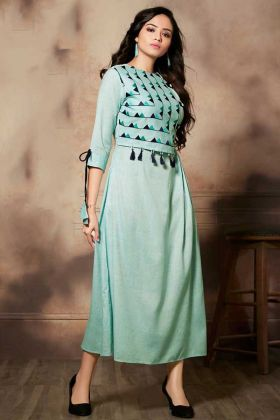 Handloom Rayon Sea Green Fancy Anarkali Kurti