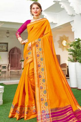 Handloom Silk Festival Orange Saree In Weaving Work