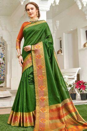 Handloom Silk Green Traditional Saree In Weaving Work