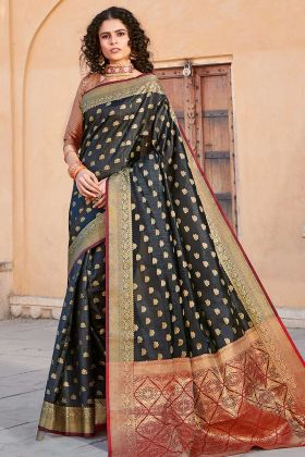 Handloom Silk Balck And Maroon Blouse In Weaving Work
