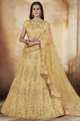Handloom Silk Designer Bridal Lehenga Choli Stone Work In Yellow Color