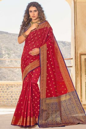Handloom Silk Designer Red Saree In Weaving Work