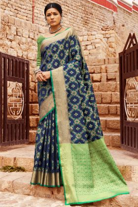 Handloom Silk Designer Saree Self Weaving Work In Blue Color