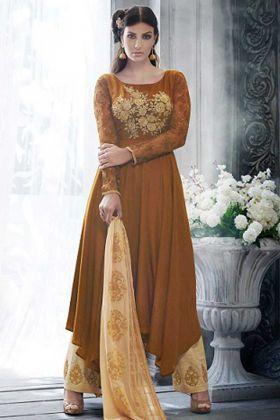 Handloom Silk Pant Style Salwar Kameez In Chocolate Brown Color