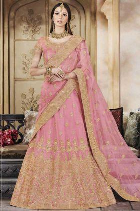 Handloom Silk Party Wear Bridal Lehenga Choli Stone Work In Pink Color