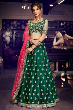 Handloom Silk Party Wear Lehenga Choli Bottle Green Color