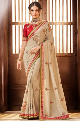 Handloom Silk Reception Saree Embroidery Work In Beige Color