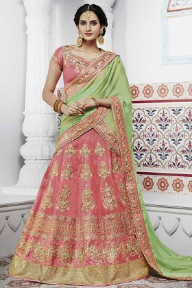 Handloom Silk Wedding Lehenga Peach Color With Heavy Border