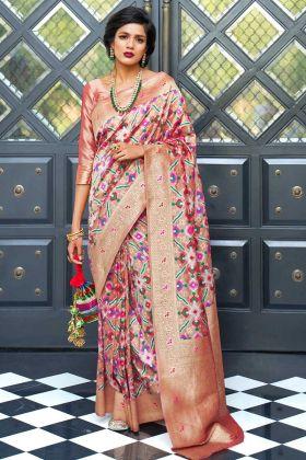 Handloom Silk Wedding Saree Self Weaving Work In Peach Color
