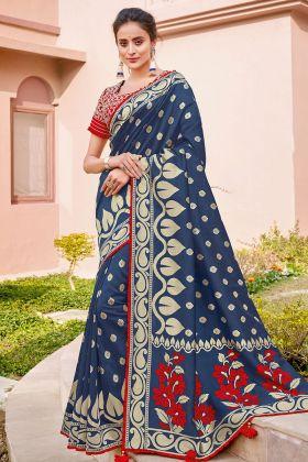 Heavy Border Blue Weaved Silk Designer Saree