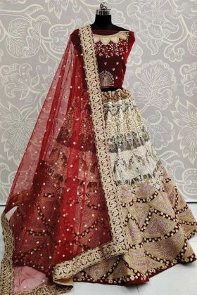 Heavy Bridal Maroon Color Latest Lehenga Choli In Silk And Velvet Fabric