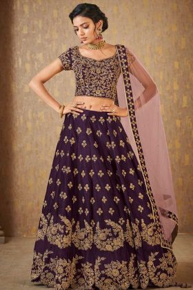 Heavy Dark Purple Banarasi Bridal Lehenga Choli In Resham Work